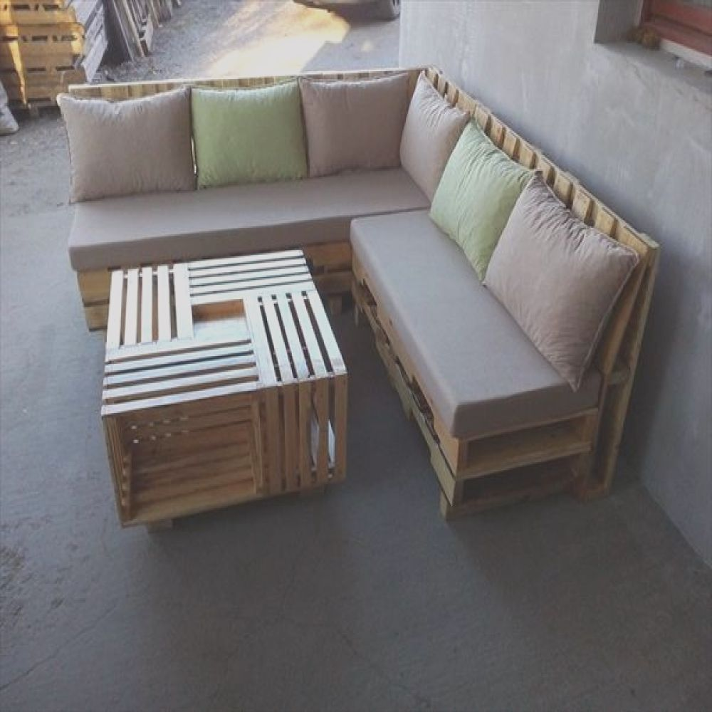 Sofas Palets Elegantesome Wonderful Pallet L Shape Sofa Set