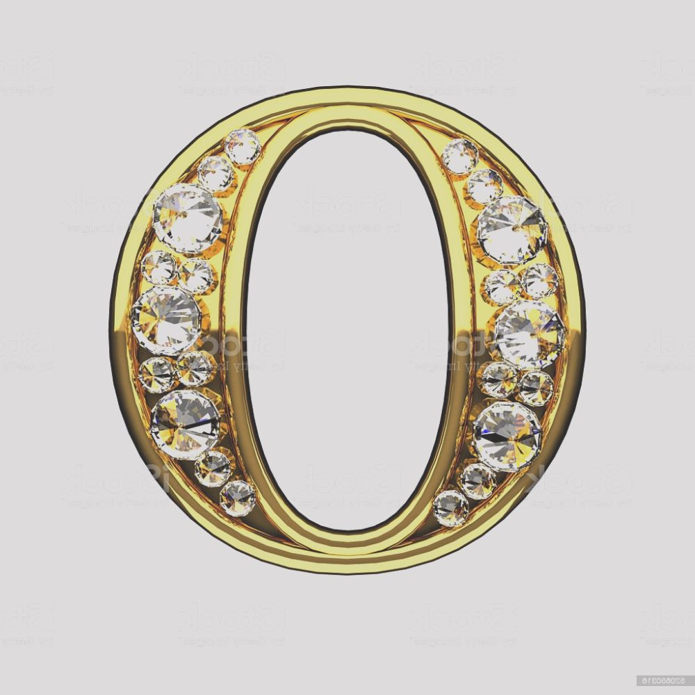o isolated golden letters with diamonds on white gm