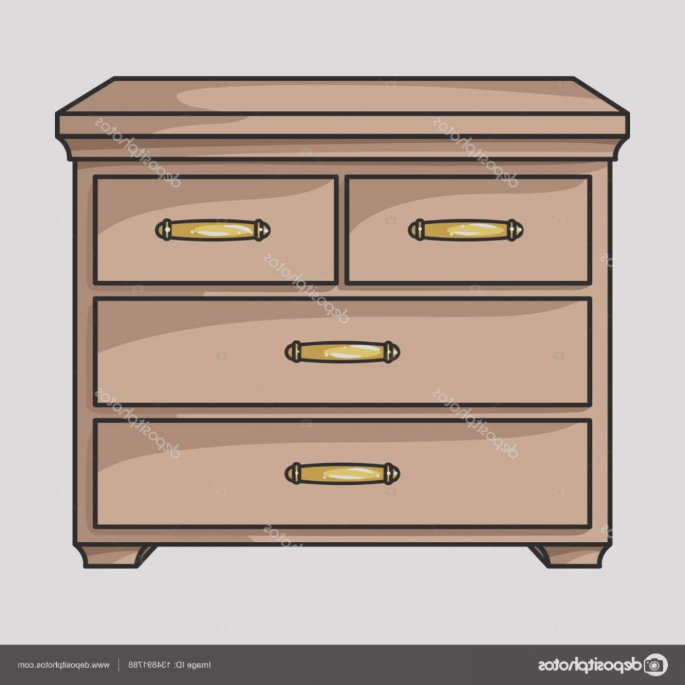 stock illustration wooden cabinet with drawers icon