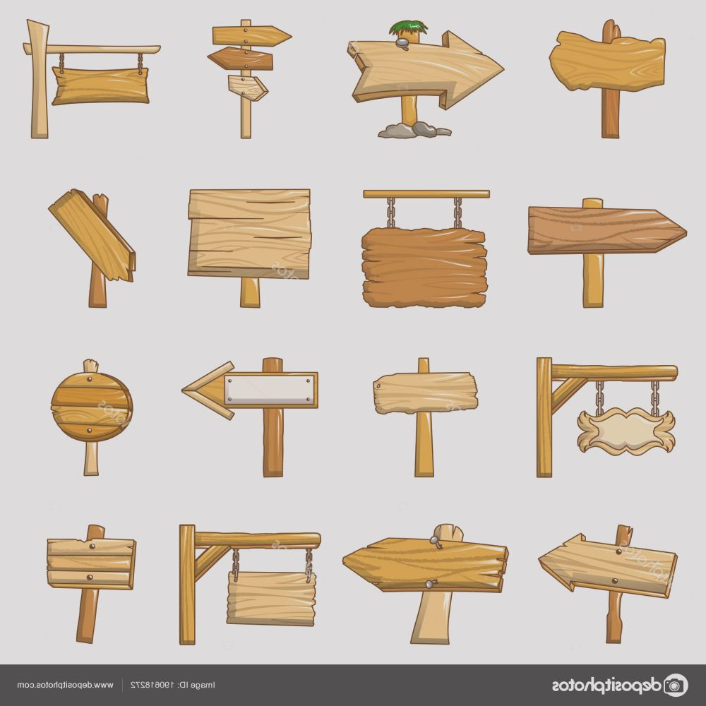 stock illustration signpost road wooden icons set