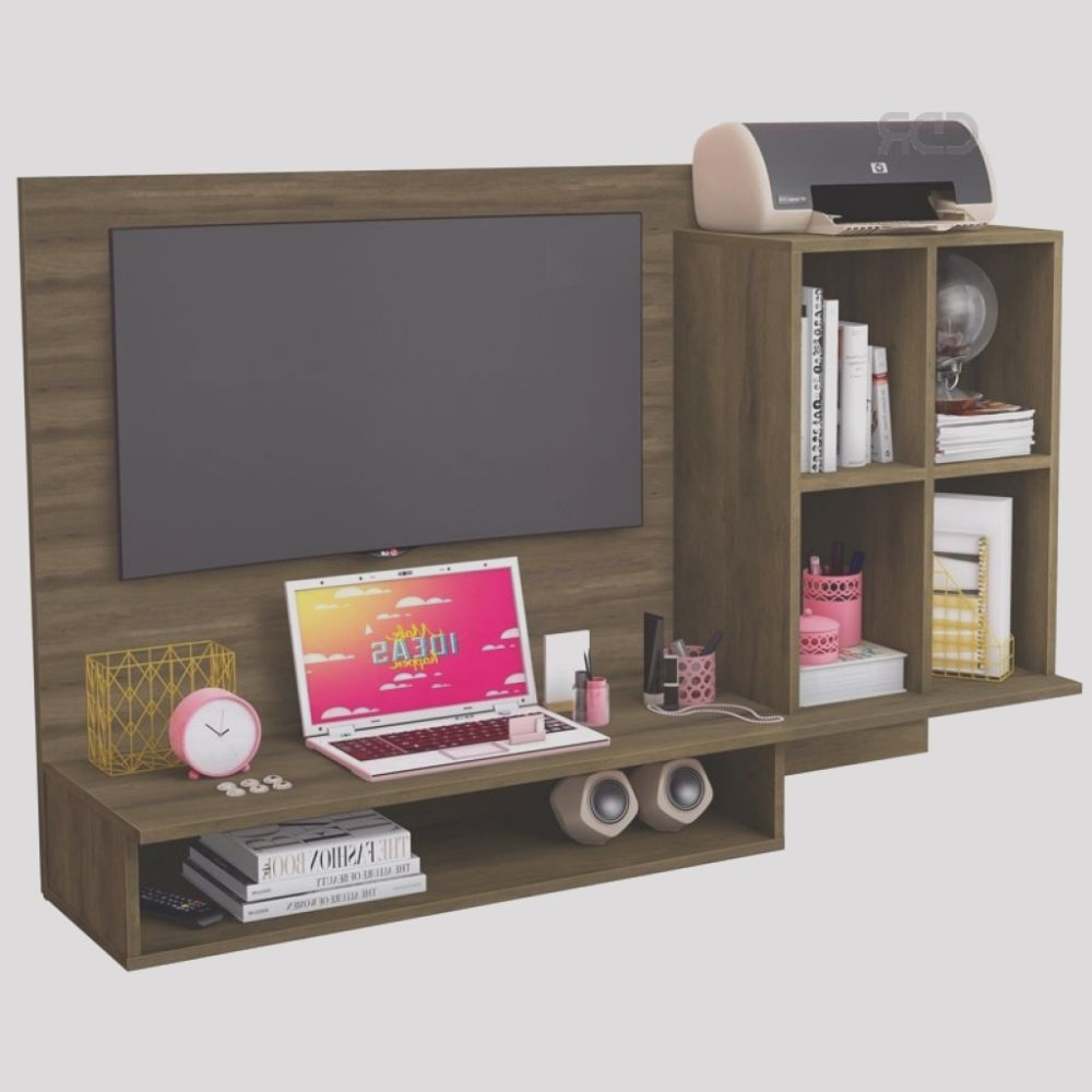 rack para tv con escritorio cedro mueble cdrrac39