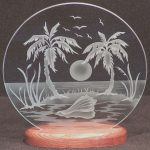Dibujos Para Grabados Elegantecarved Glass Tropical Island 9 In Circle In Handcrafted
