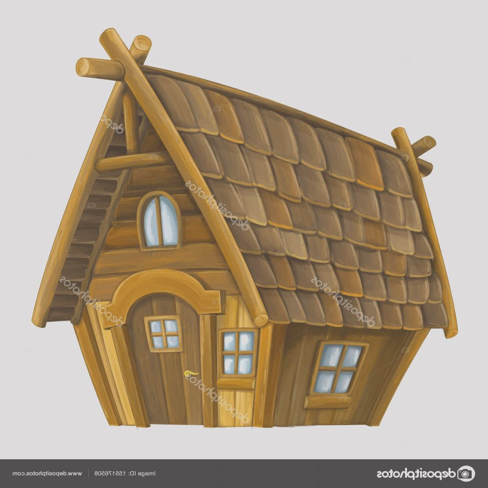 stock photo old cartoon wooden house