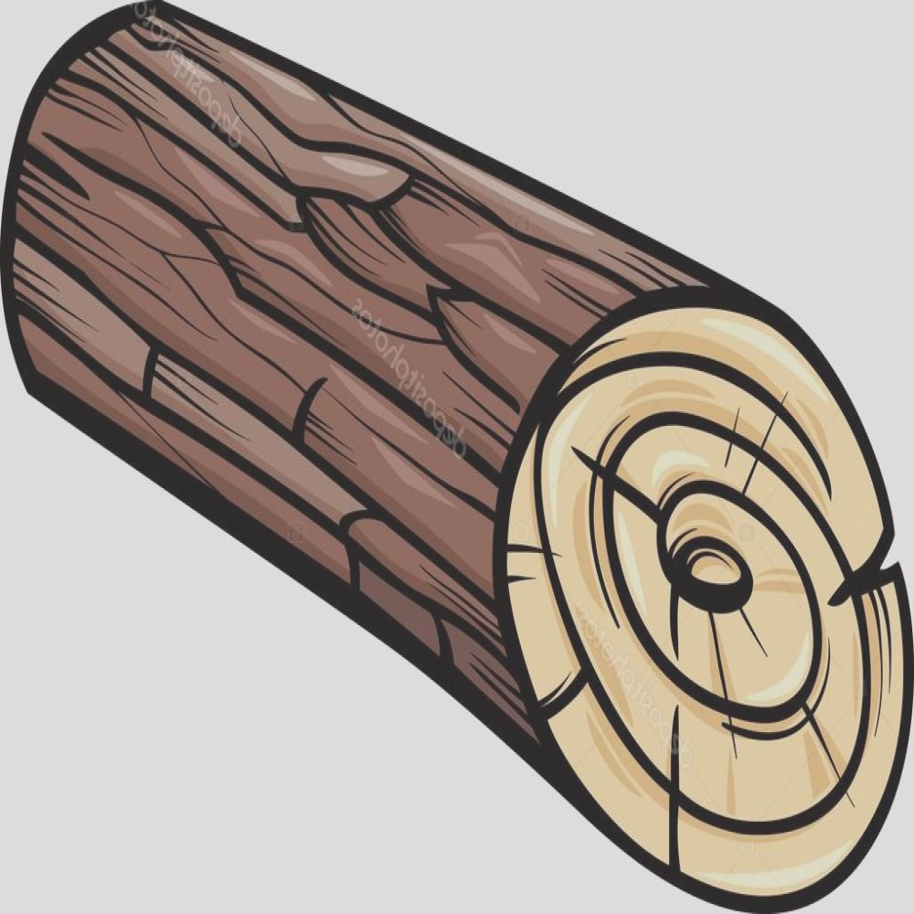 stock illustration wooden log or stump cartoon
