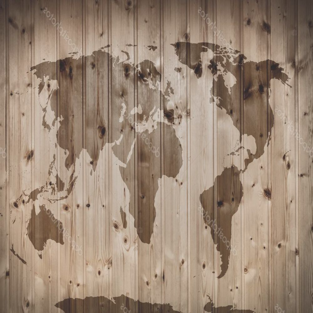 stock photo world map on wooden wall