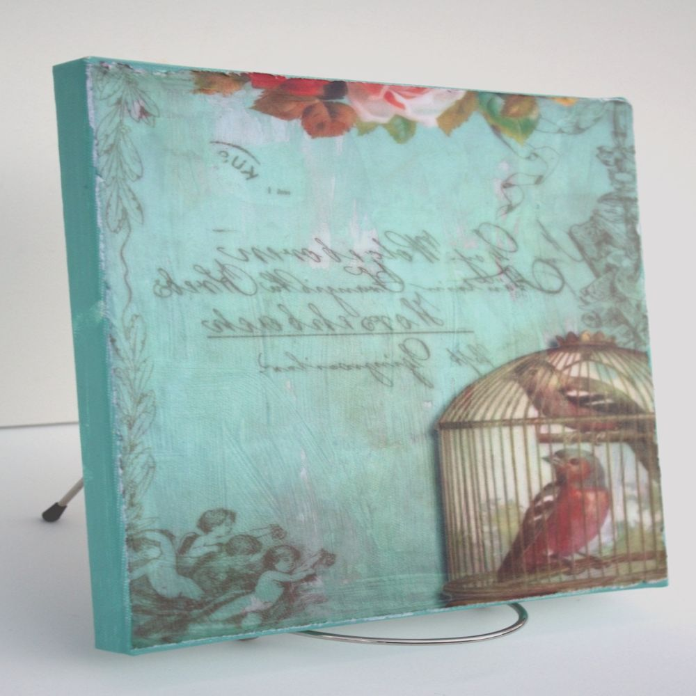 shabby cottage chic print decoupaged on