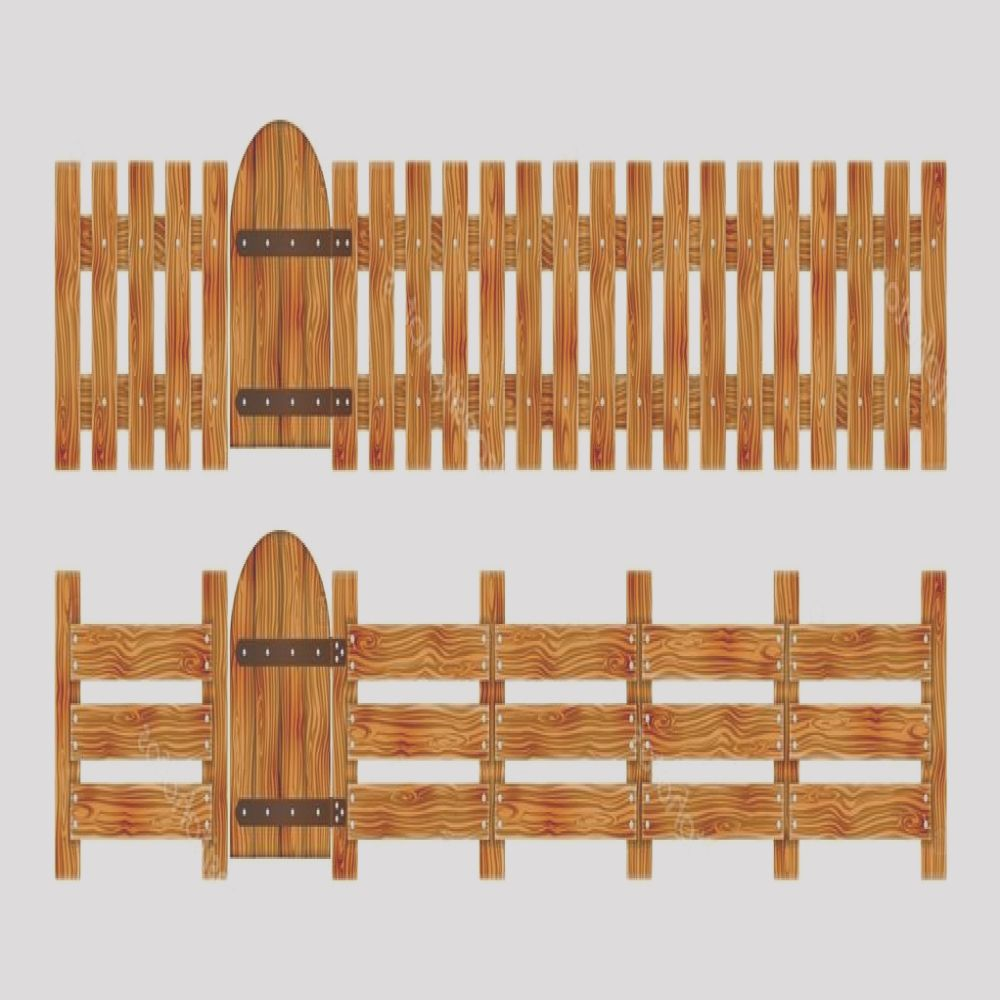 stock illustration wooden fence with a gate