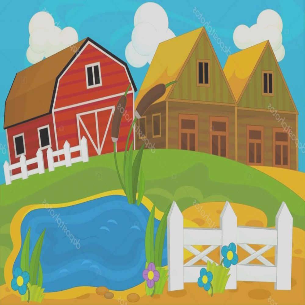 stock photo cartoon wooden houses and field