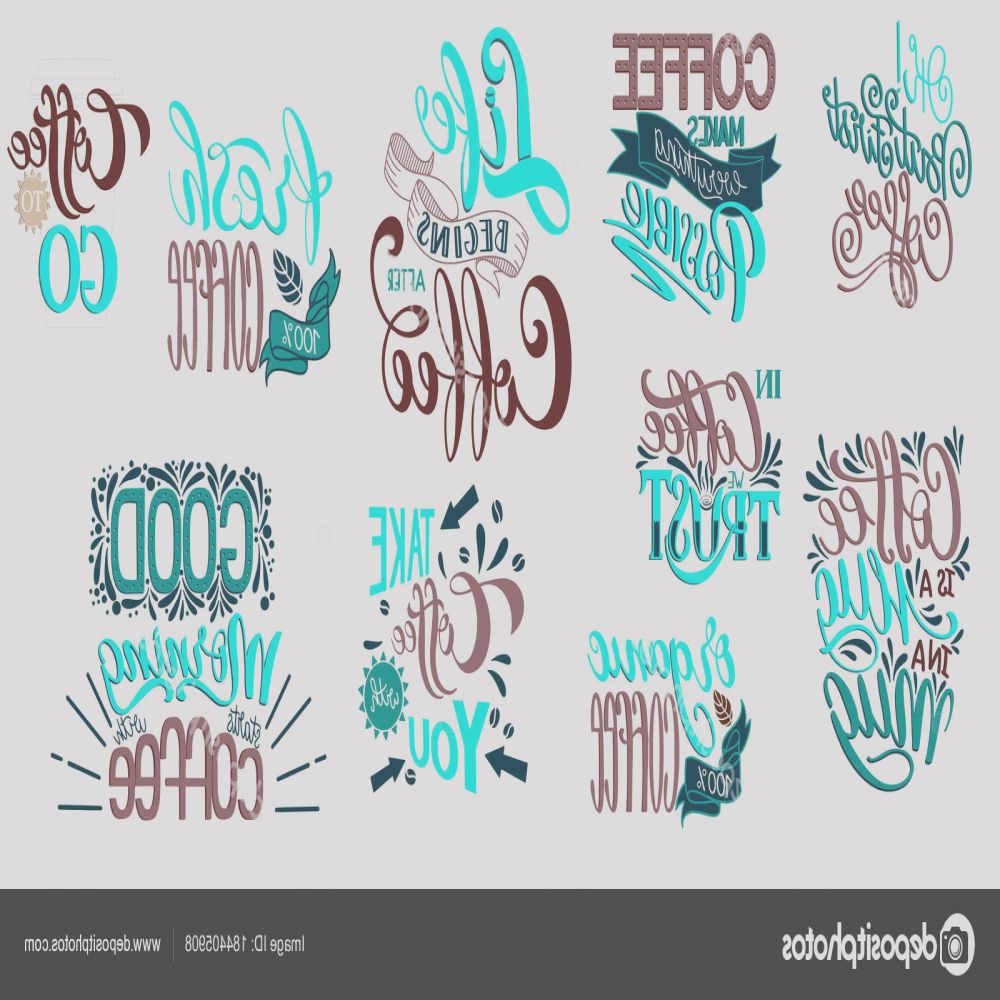stock illustration lettering sets of coffee quotes