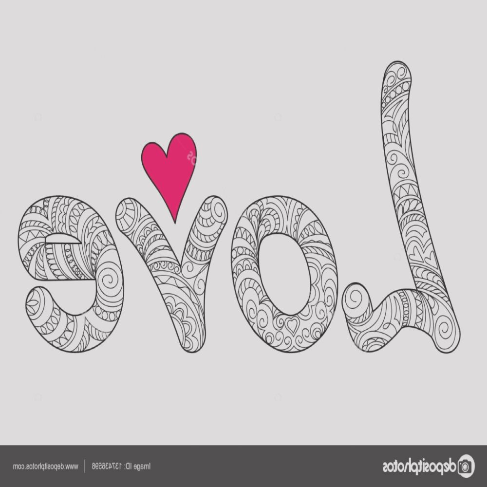 stock illustration word love with big heart