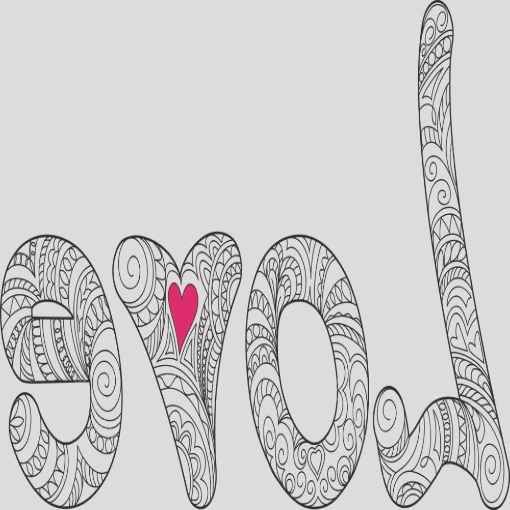 stock illustration word love with small heart