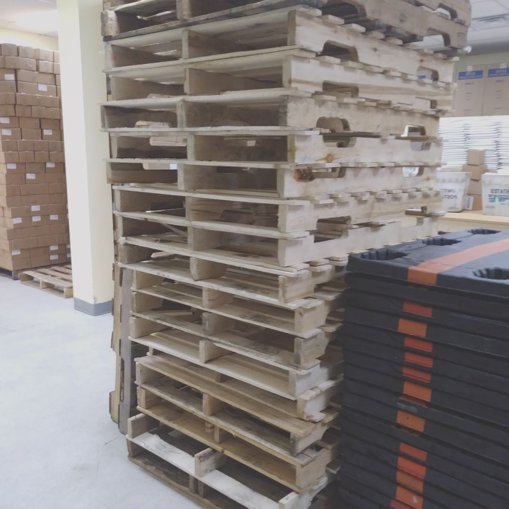 210 units of wooden pallet lot available as a take all